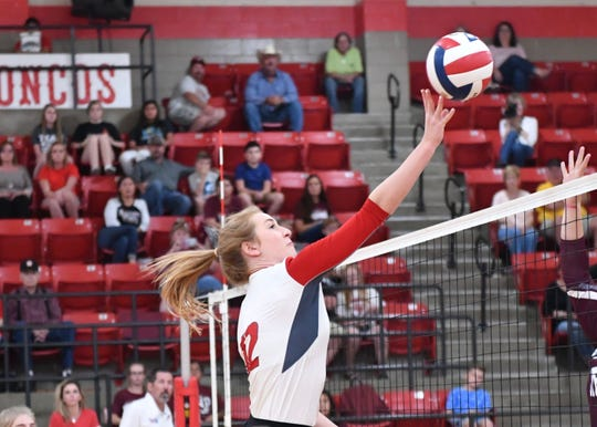 Sonora High School's Mary Kyle Johnson puts the ball over the net during action from the 2018 season.