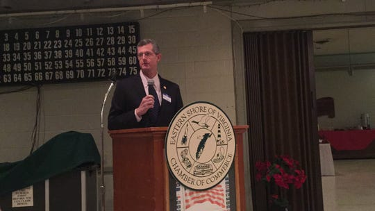 Dr. Daniel Carey, Virginia Secretary of Health and Human Resources, speaks during Eggs and Issues in Accomac, Virginia on Wednesday, Dec. 5, 2018.