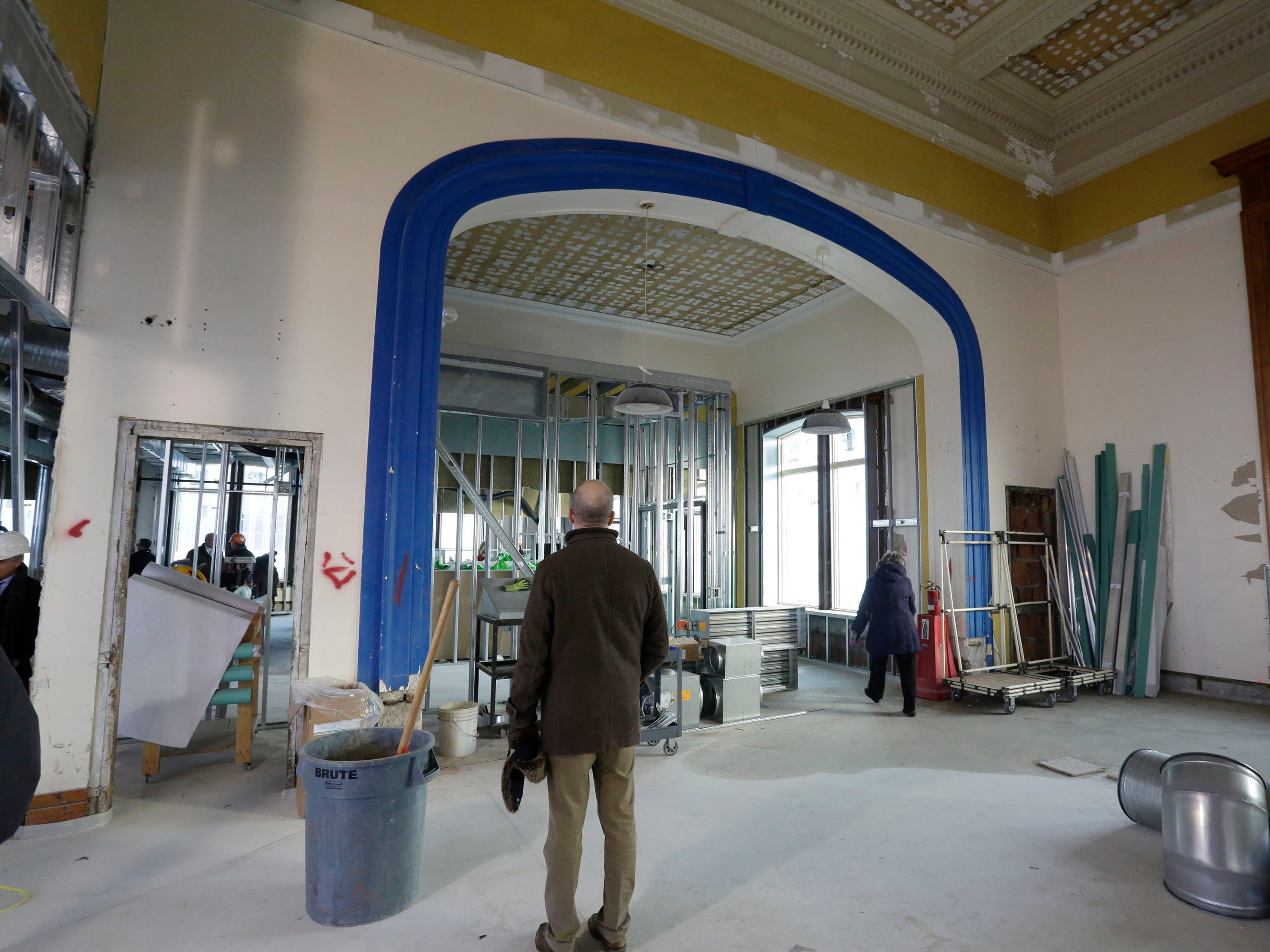 A view inside the Sheboygan City Hall council chambers during a tour of the construction progress, Wednesday, December 5, 2018, in Sheboygan, Wis. The facility is undergoing renovated that is budgeted for 10.5 million dollars.