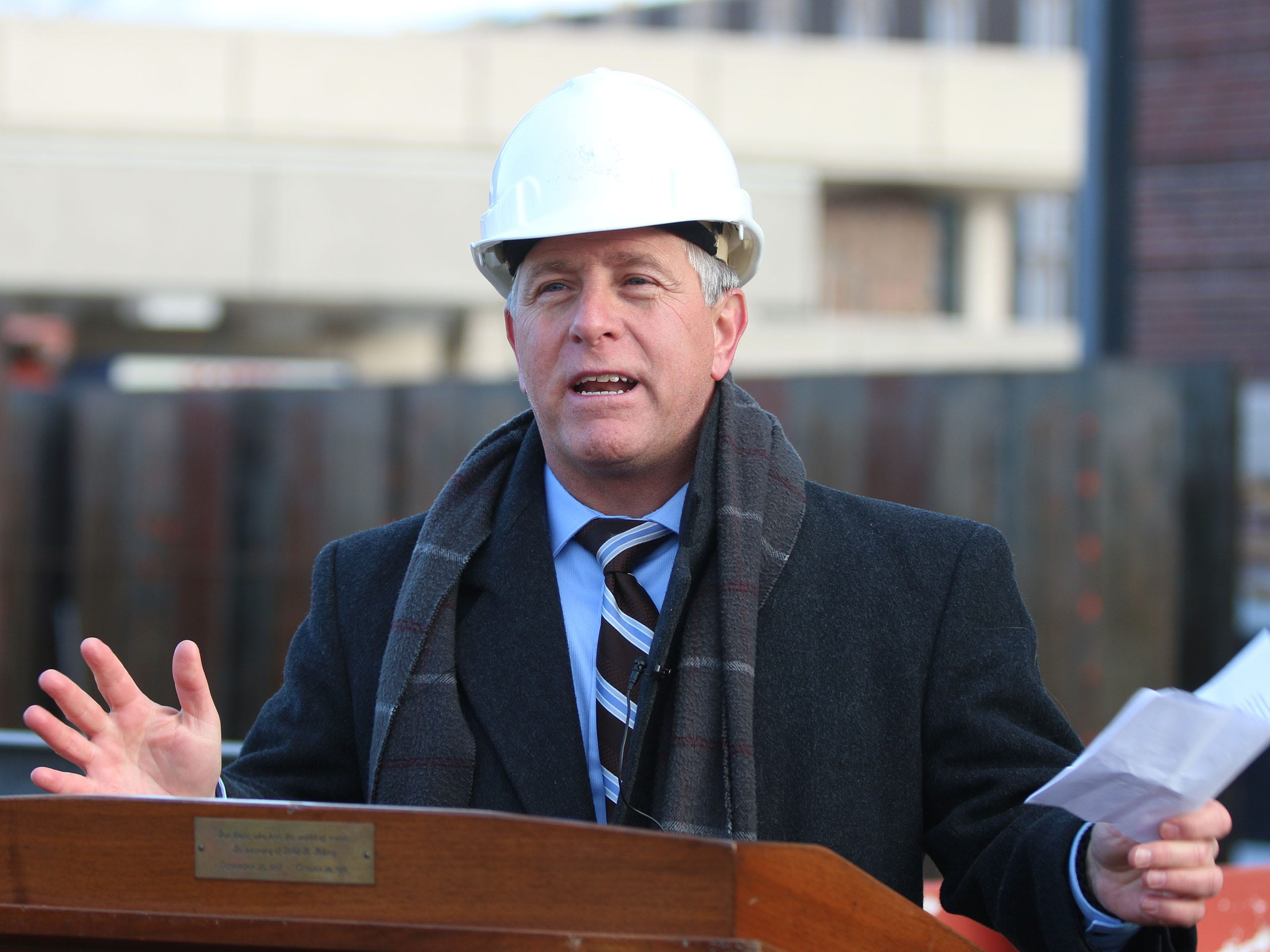 City Director of Public Works David Biebel speaks during a topping off ceremony for the 10. 5 million dollar city hall renovation project, Wednesday, December 5, 2018, in Sheboygan, Wis.
