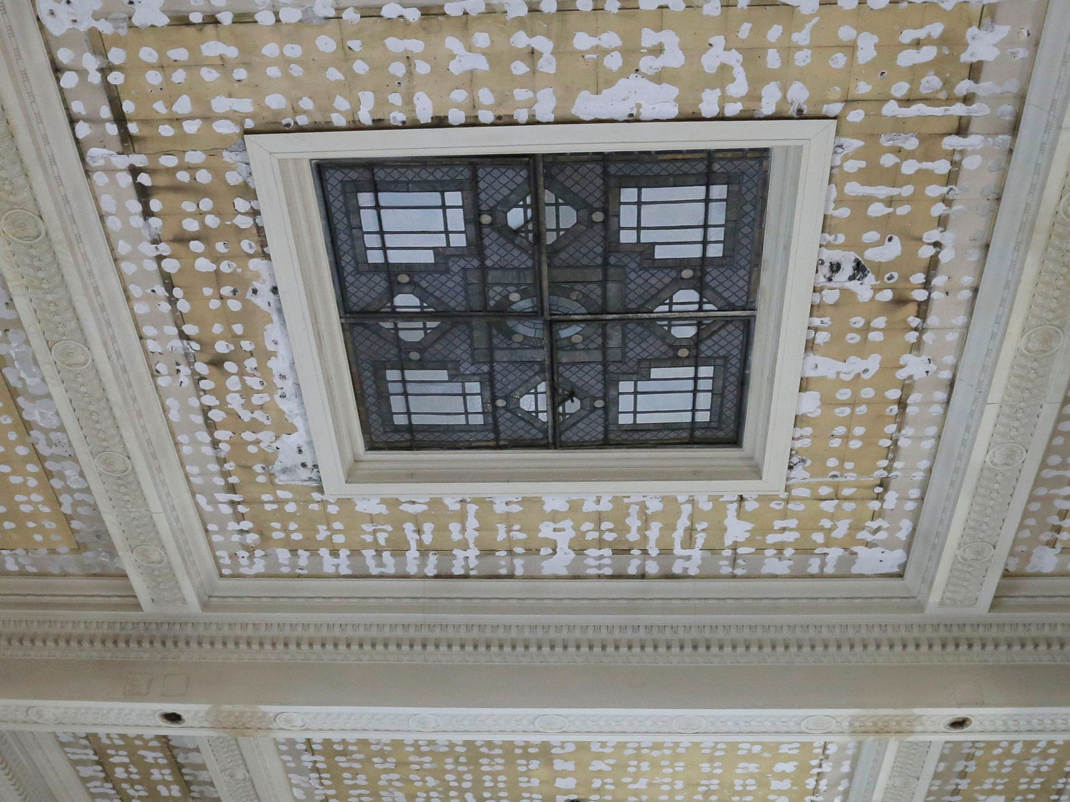 The stain glass window skylight in the ceiling of the council chambers will be again visible following the 10.5 million dollar renovation project at Sheboygan City Hall as seen, Wednesday, December 5, 2018, in Sheboygan, Wis. The skylight will be illuminated by a small bank of lights.