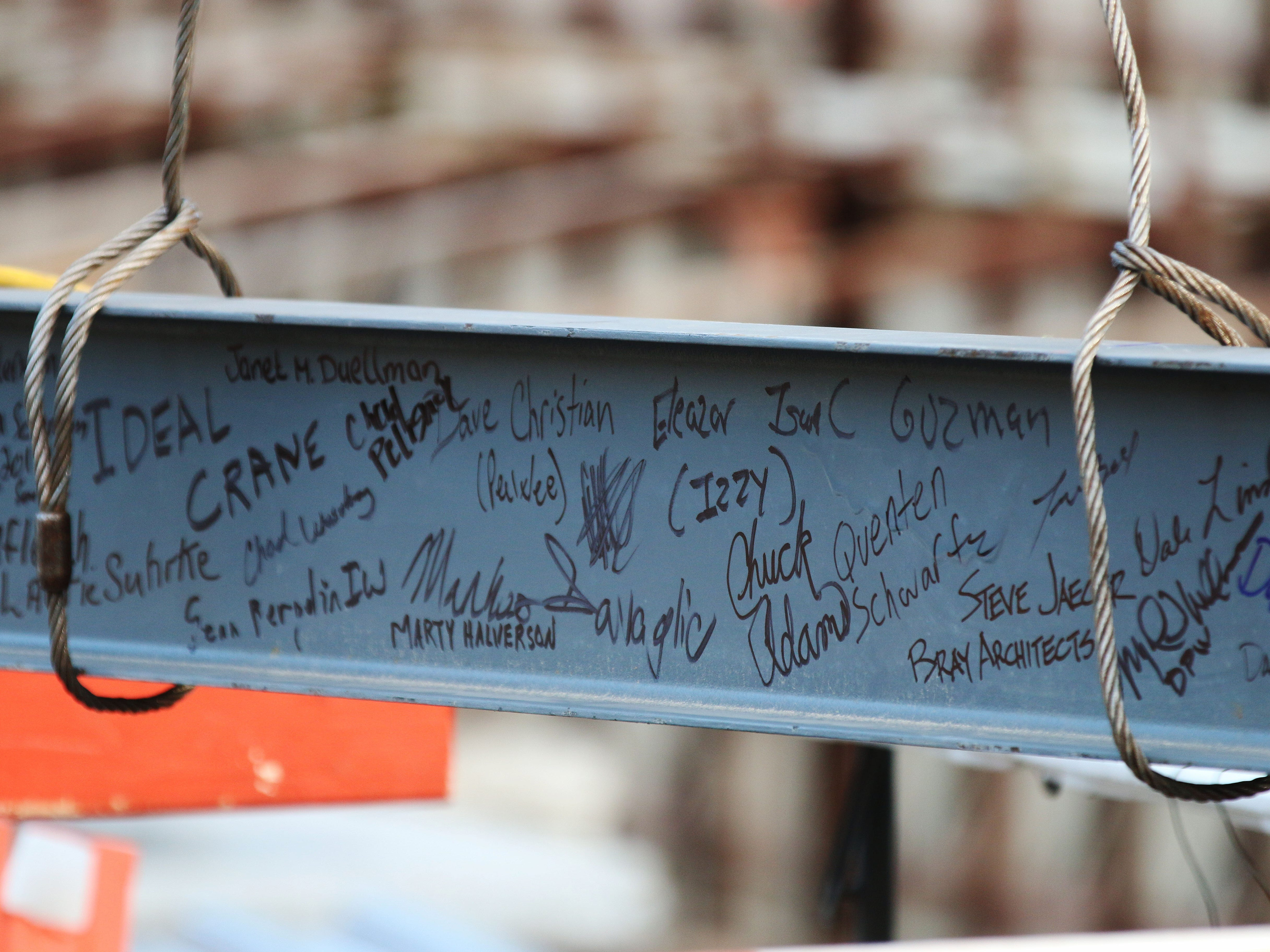 Names on the last structural beam before a topping off ceremony, Wednesday, December 5, 2018, in Sheboygan, Wis.