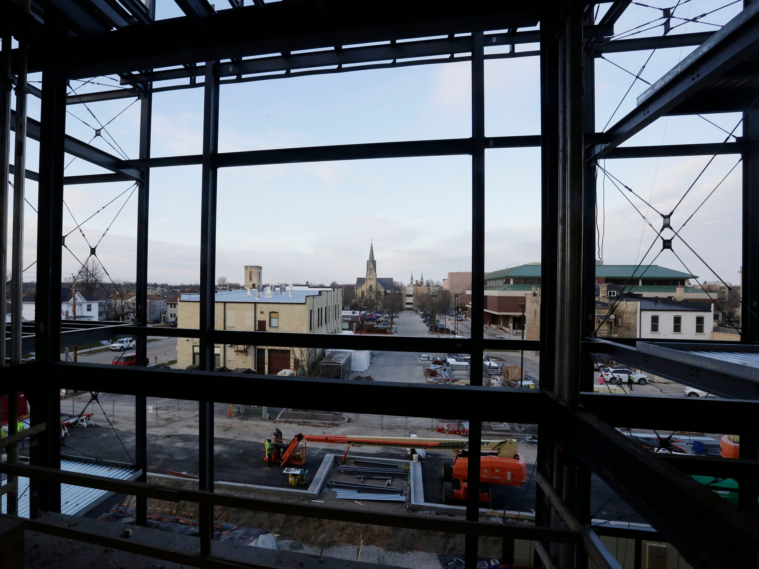 A view from the new front of Sheboygan City Hall during a tour of the 10.5 million dollar renovation project, Wednesday, December 5, 2018, in Sheboygan, Wis. The new front will feature a glassed in view of the city.