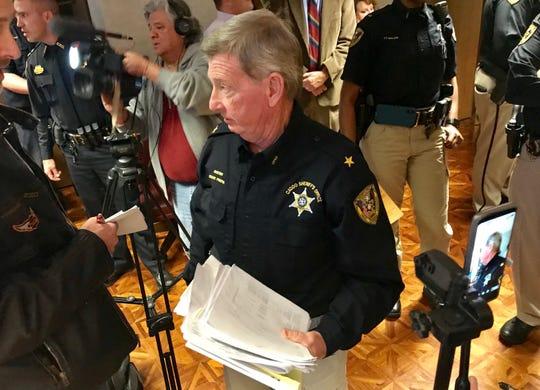 Caddo Sheriff Steve Prator at the Dec. 6 press conference.