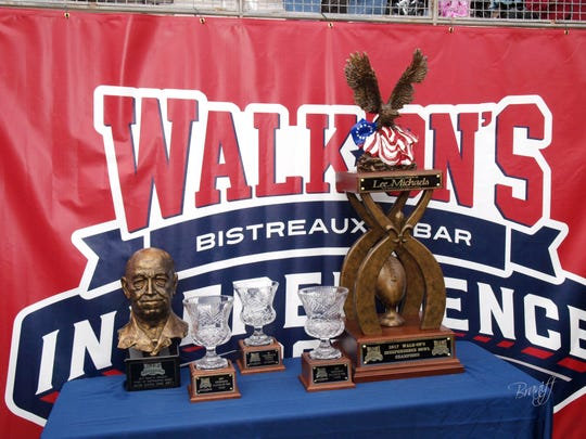 Trophies at the 2017 Walk On's Independence Bowl game.