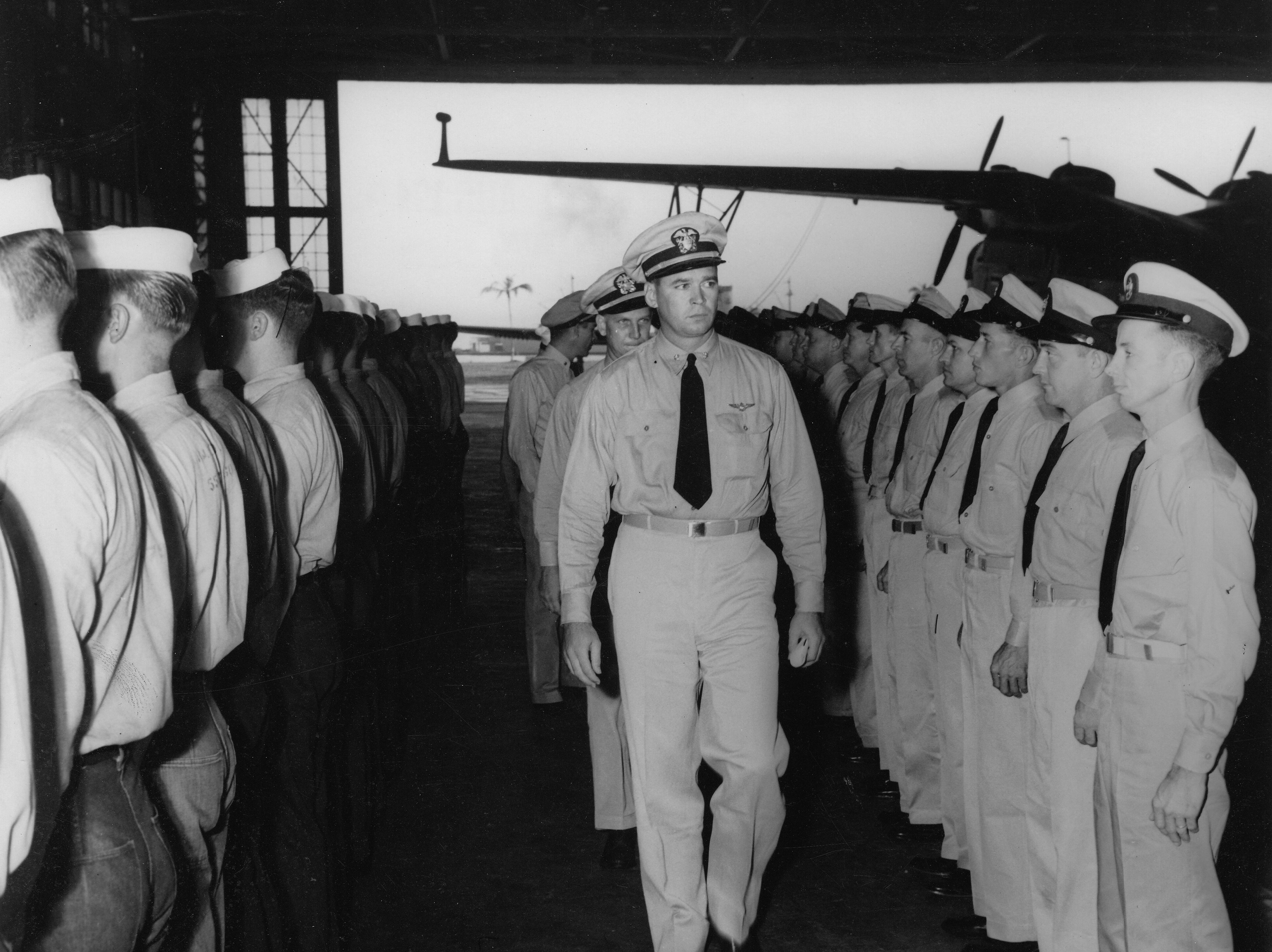 Cleo J. Dobson during his Change of Command Inspection, December 1944.