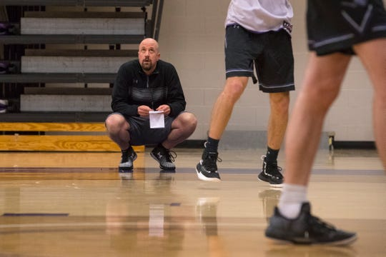 USF's coach Chris Johnson conducts practice, Wednesday, Dec. 5, 2018 at the Stewart Center in Sioux Falls, S.D.