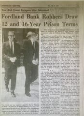 "Maynard ""Red"" Hollandsworth, left, and Lincoln A. DeVaughn leave the federal courthouse in Springfield after being sentenced to prison in July 1966.  Hollandsworth got 16 years and DeVaughn 12.  The third robber,  Charles Brooks Bell, had already been sentenced to 16 years."