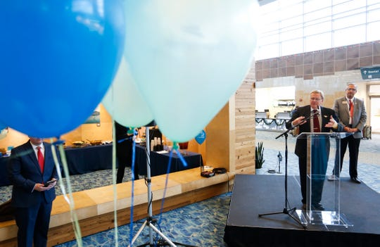 Springfield Mayor Ken McClure speaks at a ceremony marking the first time the Springfield-Branson National Airport has served 1 million passengers in a year on Thursday, Dec. 6, 2018.