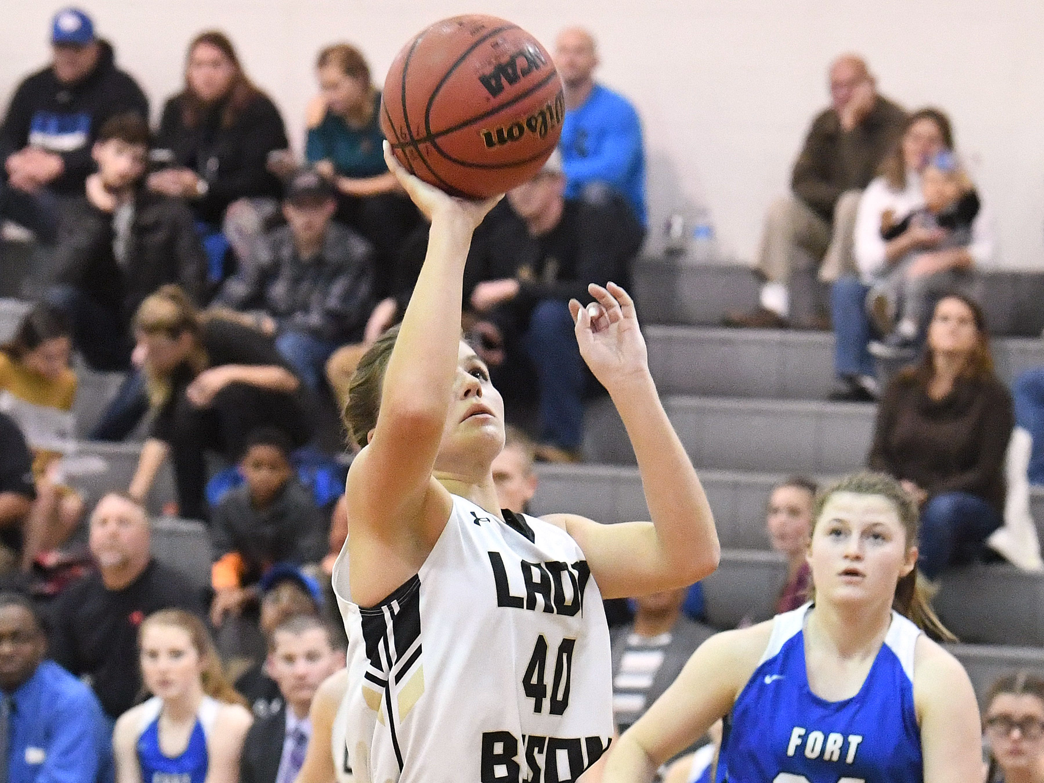 Buffalo Gap's Sydney Digman shoots during a game played in Swoope on Wednesday, Dec. 5, 2018.