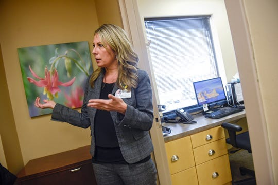 Central Minnesota Child Advocacy Center Director Katie Boecker talks about features of the facility Thursday, Dec. 6, in Sartell.
