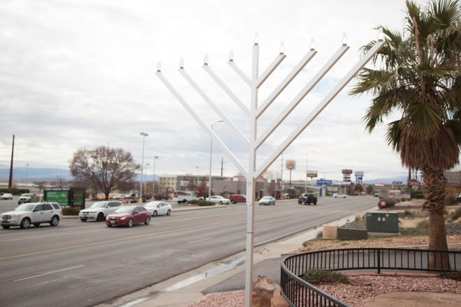 A large menorah placed by Rabbi Mendy Cohen stands along Red Cliffs Drive in St. George on Thursday, Dec. 6, 2018.