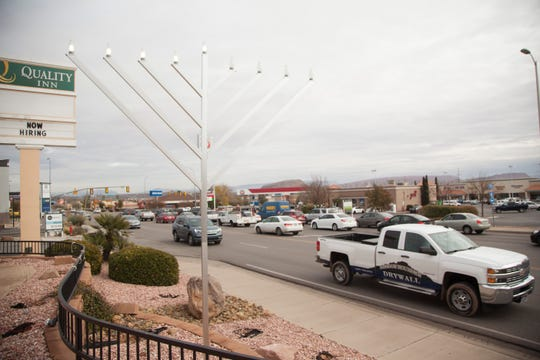A large menorah along Red Cliffs Drive placed by Rabbi Mendy Thursday, Dec. 6, 2018.