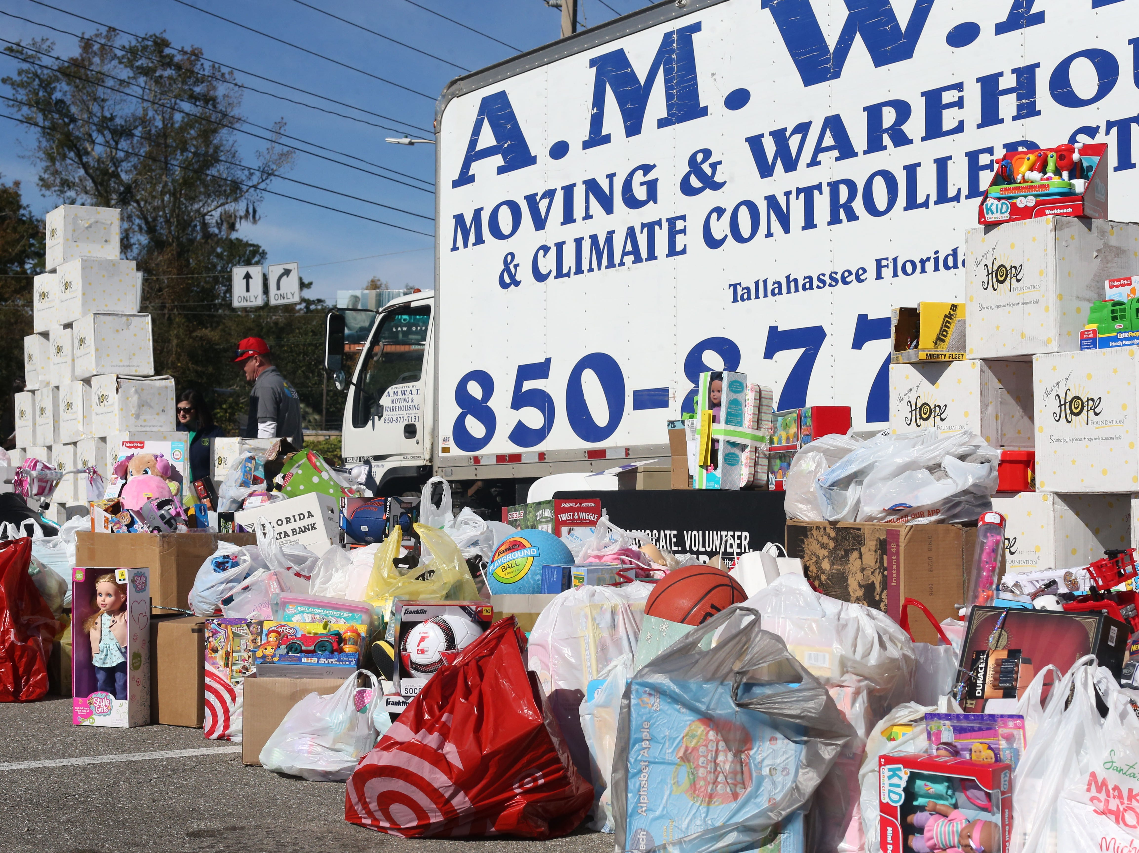 Rebuild 850 hosts a toy drive for children impacted by Hurricane Michael outside of the Tallahassee Democrat, Thursday, Dec. 6, 2018.