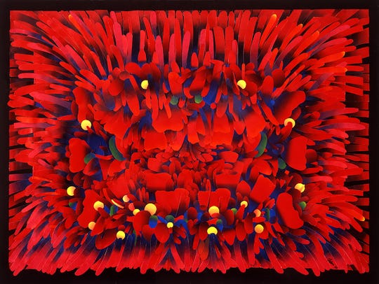 """The idea for Ken Falana's """"Red Field"""" came from an article on the Great Barrier Reef."""