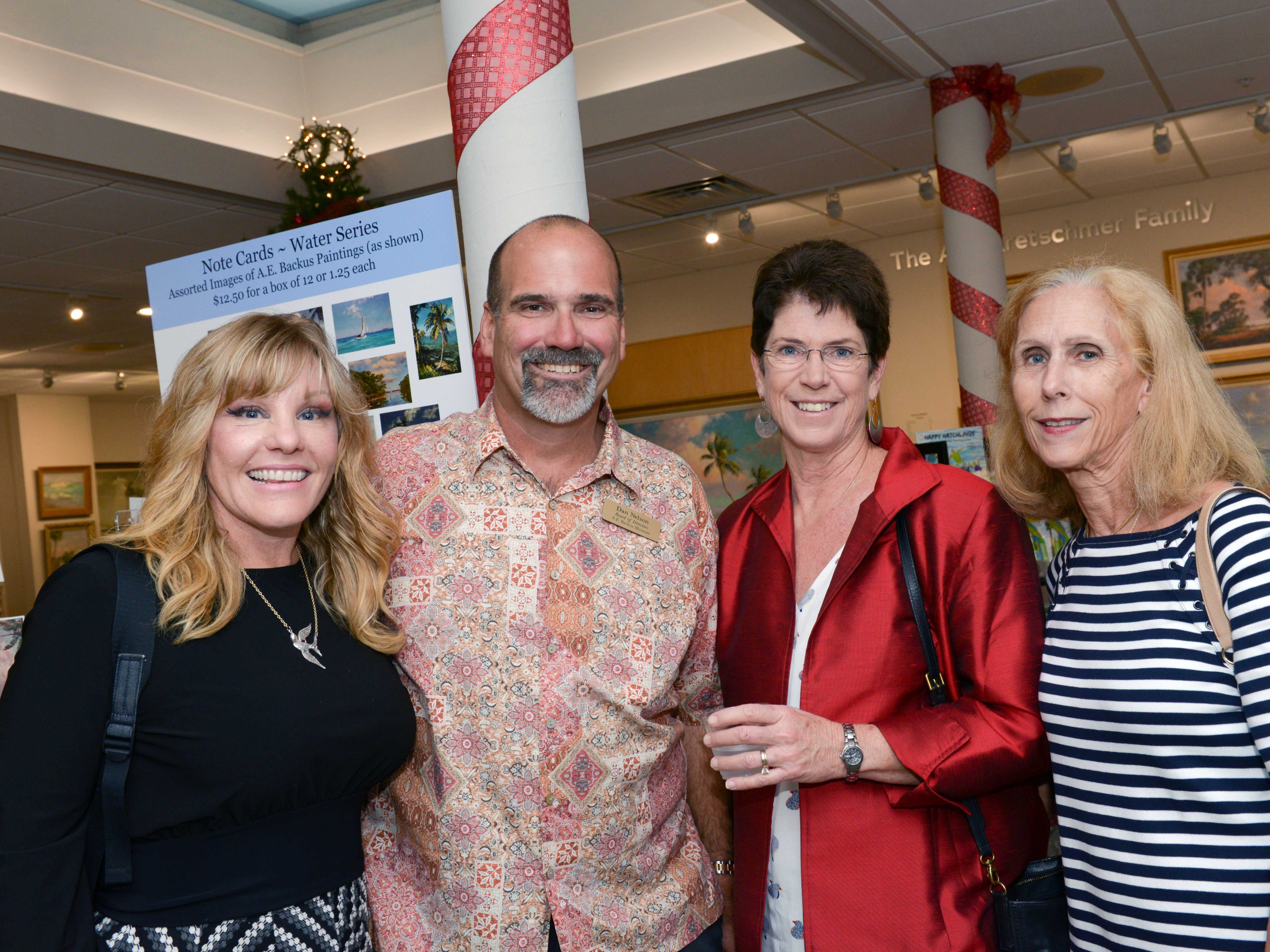 "Lisa and Dan Nelson, left, Linda Nunn and Fifi Lyshon at the A.E. Backus Museum's ""Masters of Glass: Dale Chihuly and Marlene Rose"" exhibit."