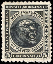 The company's origins in the circus were reflected in this revenue stamp they created for the American Playing Card Company.