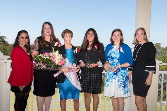 Junior League of Indian River 2018 Woman of Year committee members and winners, from left, Susan Aguirre, co-chair; Theresa Tolle, Business Professional winner; Anne Lanier, volunteer and Overall Winner; Sana Shareef,  Rising Star winner; Moreen Burkart, Civic Professional winner; and Avery Twiss, co-chair.