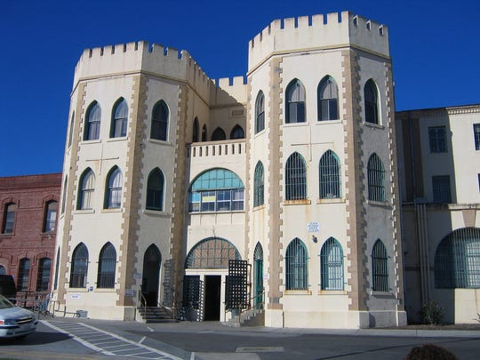 Main gate entrance to San Quentin prison.