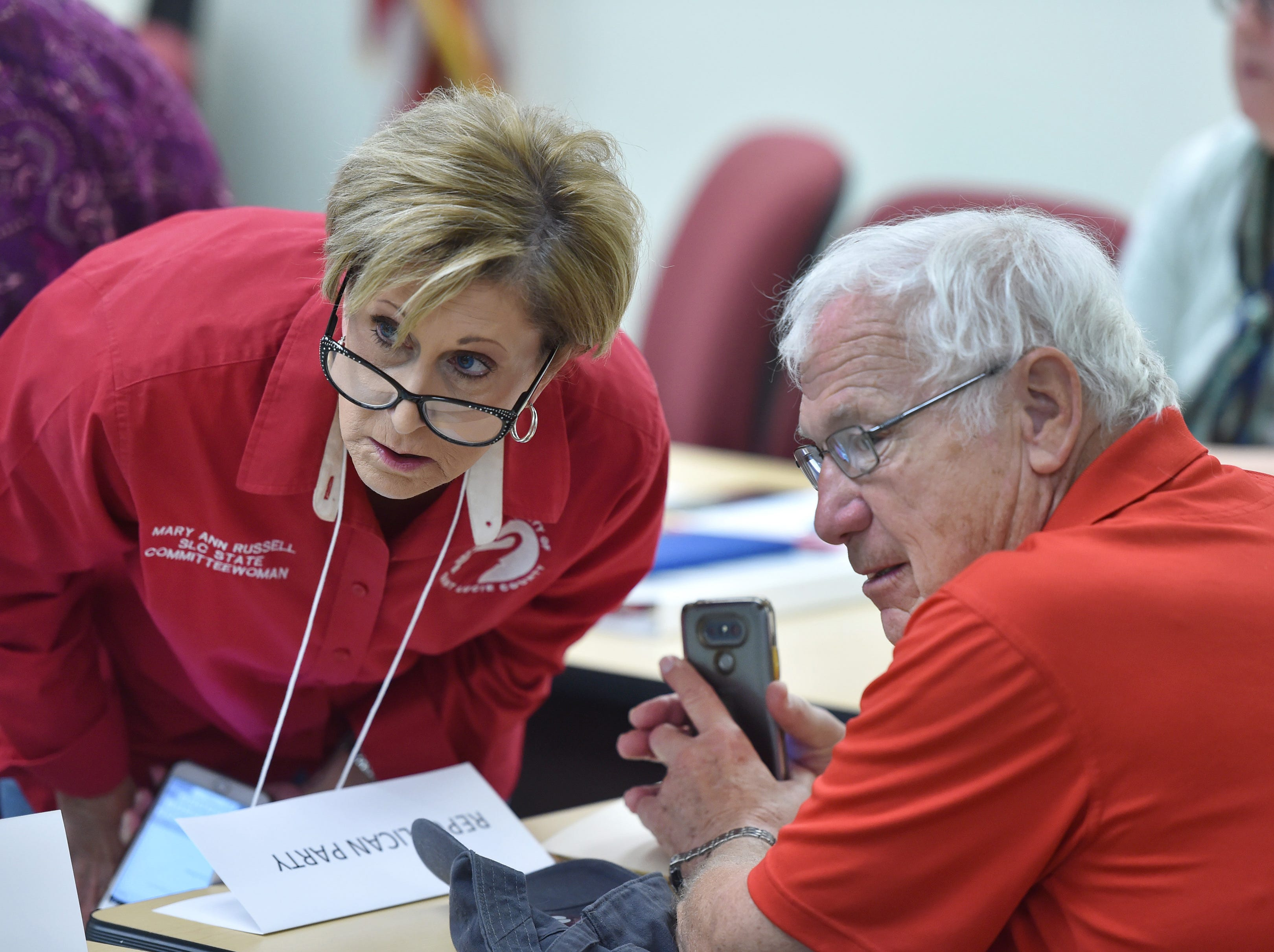 St. Lucie County Republican Executive Committee members Mary Ann Russell (left) and Alan Winslow watch over the proceedings at the St. Lucie County Supervisor of Elections office as members of the media, Republican and Democrat party witnesses, and the general public, watch the elections office staff perform a machine recount on Monday, Nov. 12, 2018, in Fort Pierce.