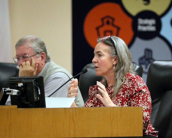 El Paso school board member Susie Byrd calls for time to involve impacted communities of any possible school closures at a workshop recently at EPISD headquarters.