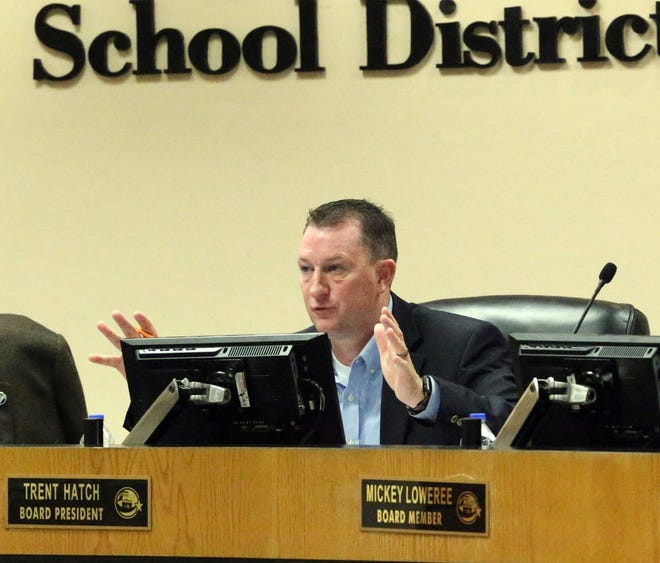 Then-El Paso Independent School District board President Trent Hatch advocates for action during a school closure workshop for board members at district headquarters.