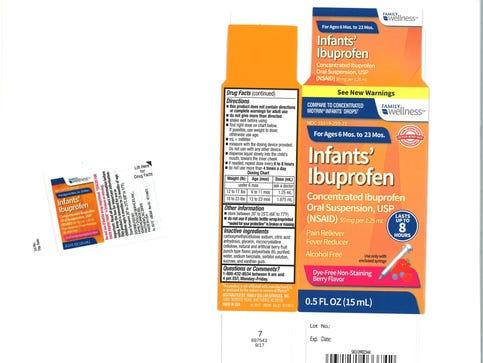 Tris Pharma, Inc. has voluntarily recalled three lots of Infants' Ibuprofen due to potentially higher concentrations of ibuprofen. (PRNewsfoto/Tris Pharma, Inc.)