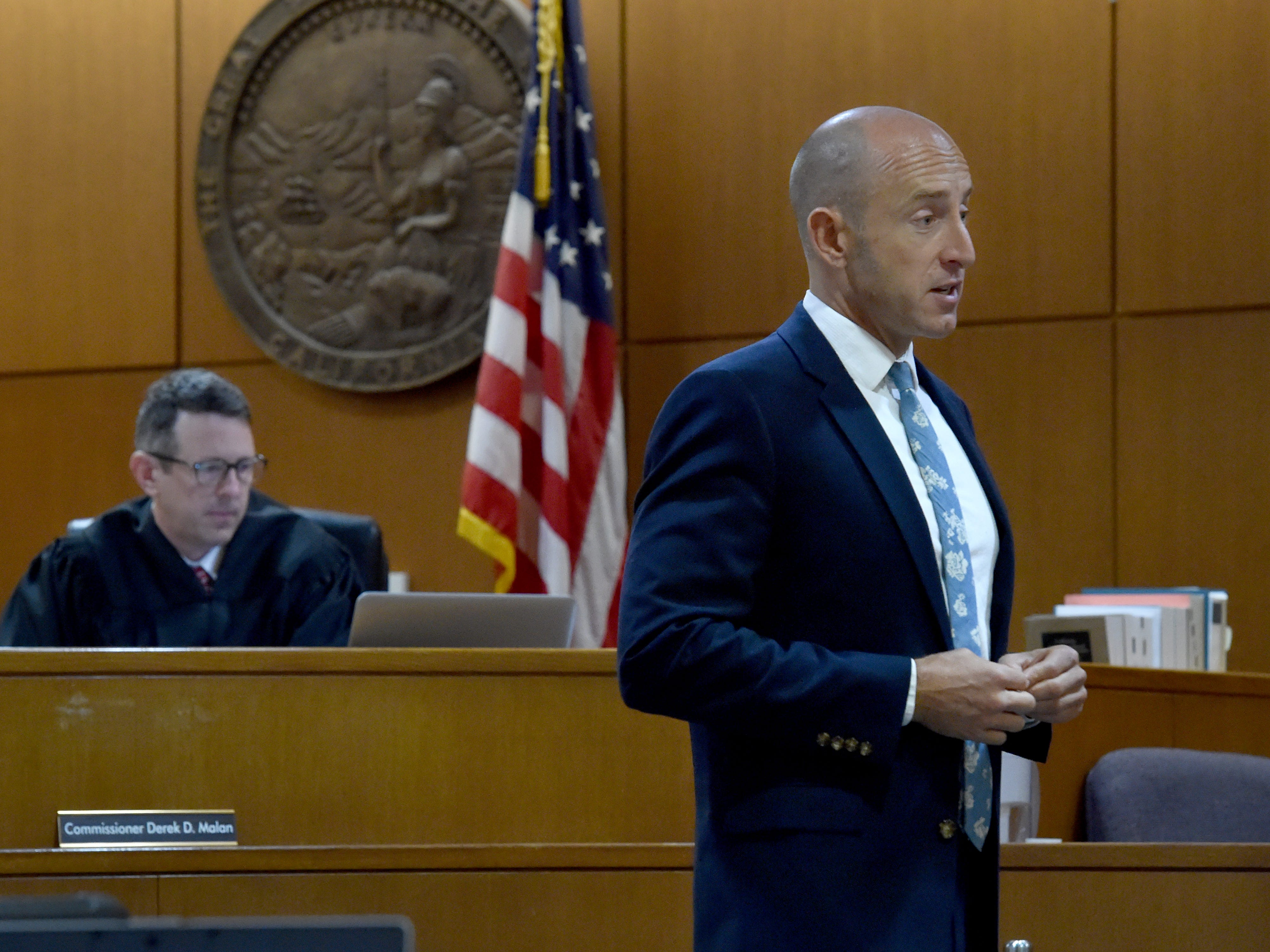 Deputy Public Defender Michael Albers  gives his opening statement in the trial of Mayra Chavez at Ventura County Superior Court on Thursday. Chavez has pleaded not guilty to second-degree murder charges in the death of her 3-year-old daughter Kimberly Lopez.