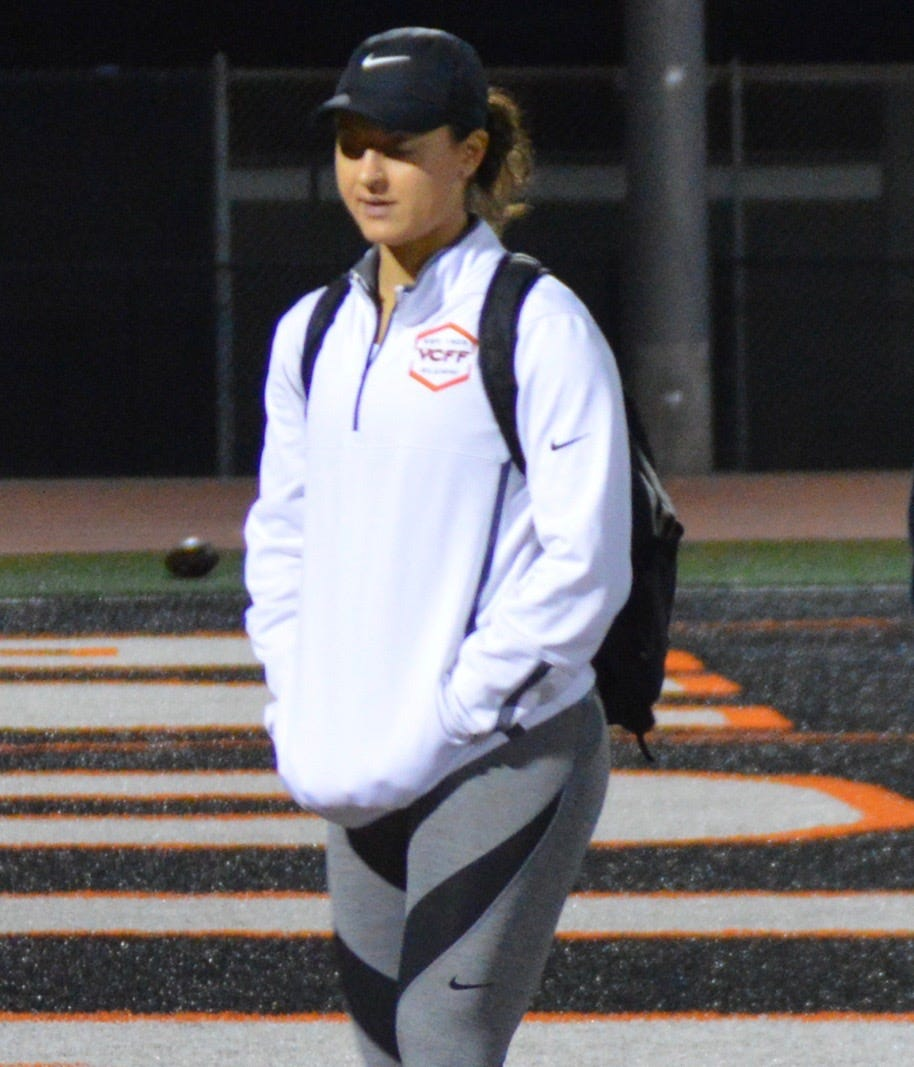 Mikala Cvijanovich, 21, is the strength and mobility coach for the Ventura College football team, which will play for the California state championship this weekend in Sacramento.