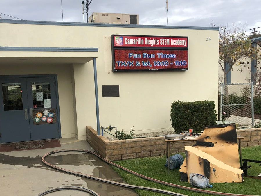 Firefighters extinguished a fire inside the staff lounge at Camarillo Heights STEM Academy on Thursday afternoon.