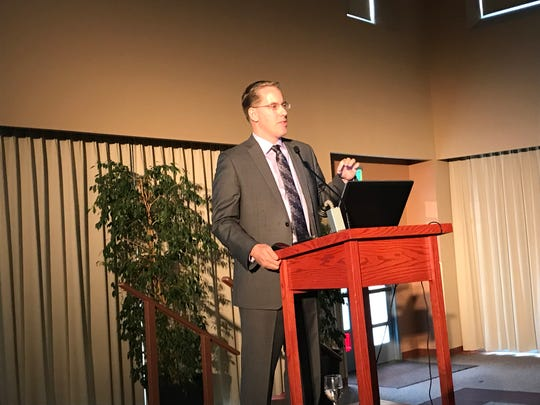 Matthew Fienup, executive director of the California Lutheran University's Center for Economic Research and Forecasting, provides his annual Ventura County Forecast at the Serra Center Wednesday afternoon. He said a lack of housing continues to be the primary issue hampering the county's economy.