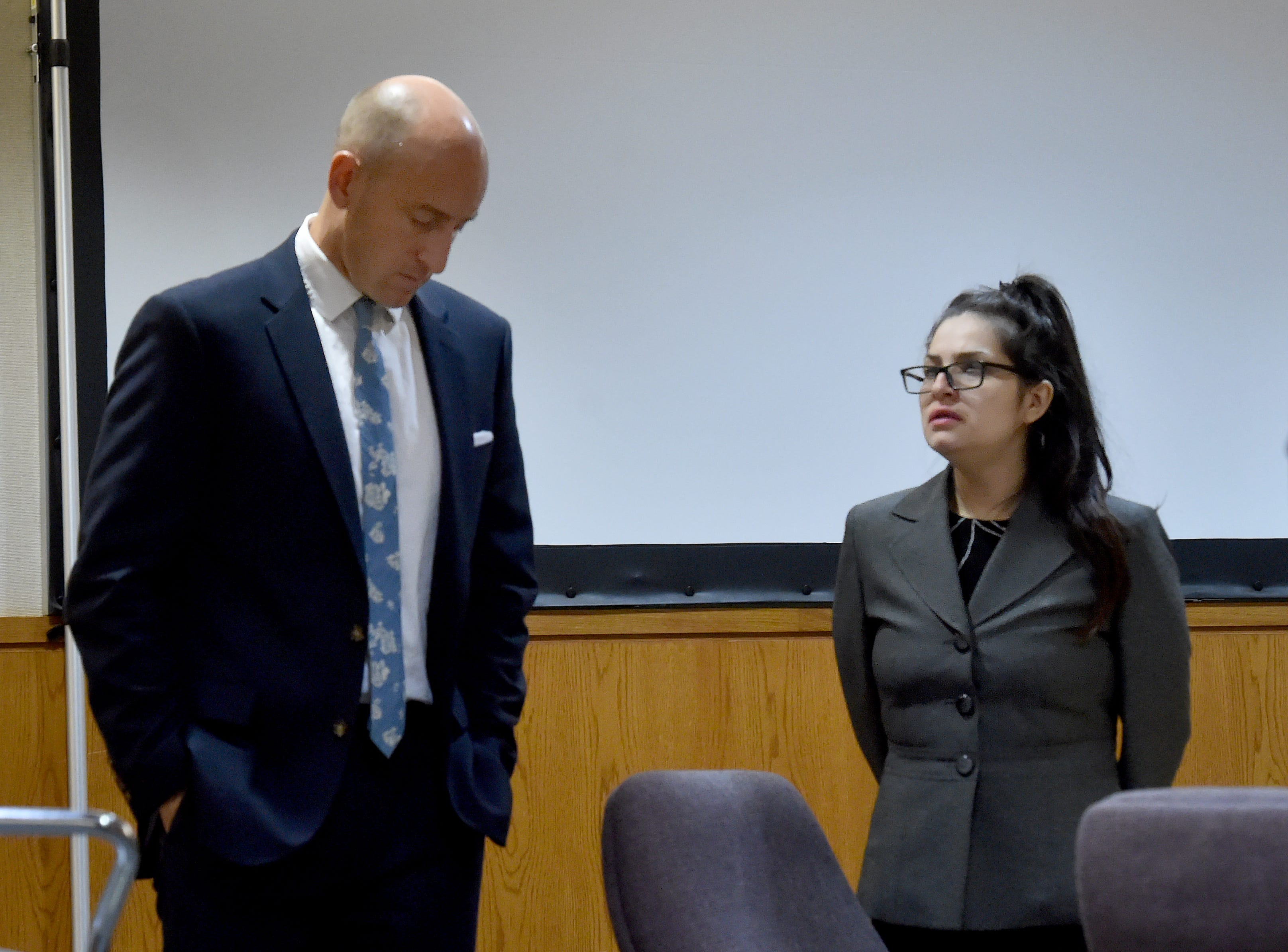 Defendent Mayra Chavez and Deputy Public Defender Michael Albers watch as jurors leave the courtroom on Thursday morning after the defense rested. Chavez has pleaded not guilty to second-degree murder charges in the death of her 3-year-old daughter Kimberly Lopez.