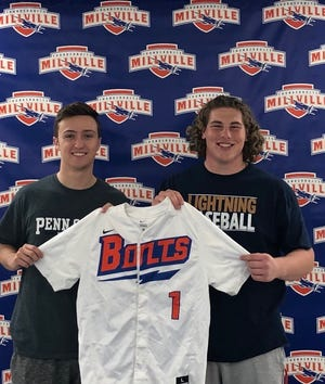 Dominic Buonadonna, left, and Garrett Musey will share the honor of wearing No. 1 for the Millville High School baseball team in 2019.