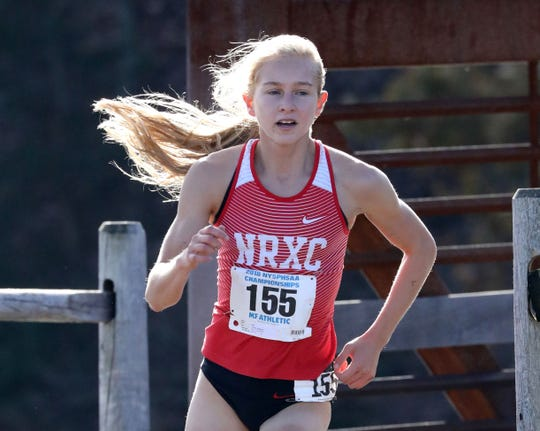 Katelyn Tuohy from North Rockland, runs the girls Class A race during the 2018 NYSPHSAA Cross Country Championships at Sunken Meadow State Park in Kings Park, New York, Nov. 10, 2018.