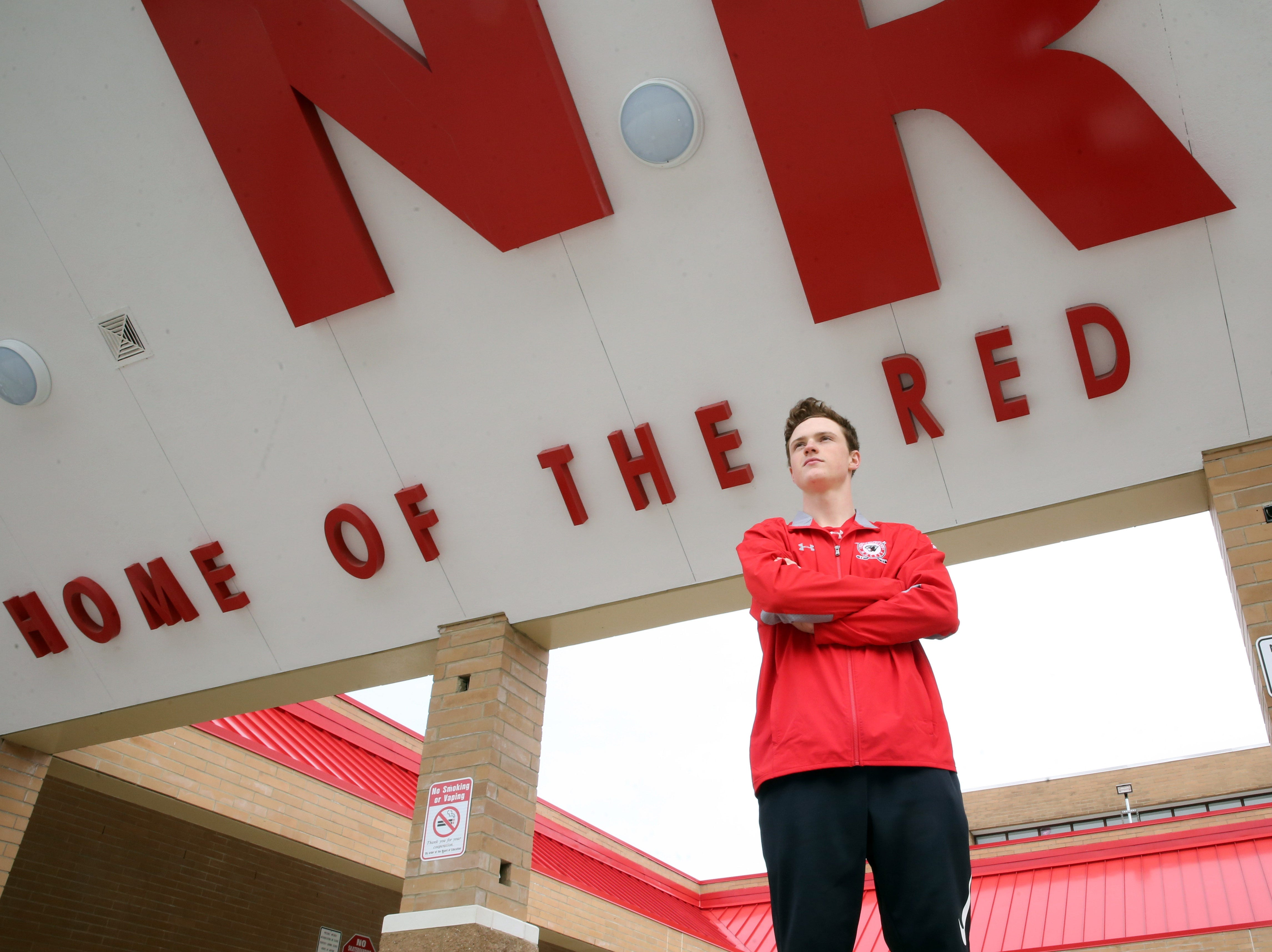 TJN hockey player of the year John Gormley was photographed at North Rockland High School on March 28, 2018.