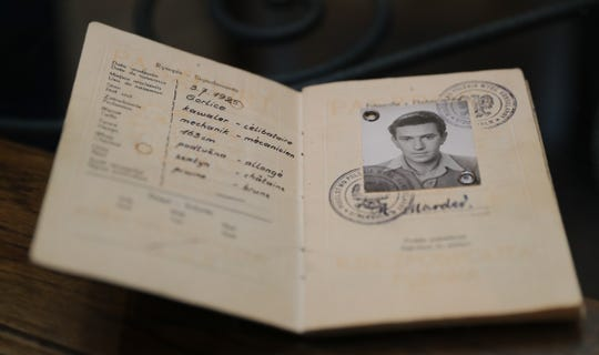 An old polish passport of Michael Marder, 93, a survivor of nine concentration camps.