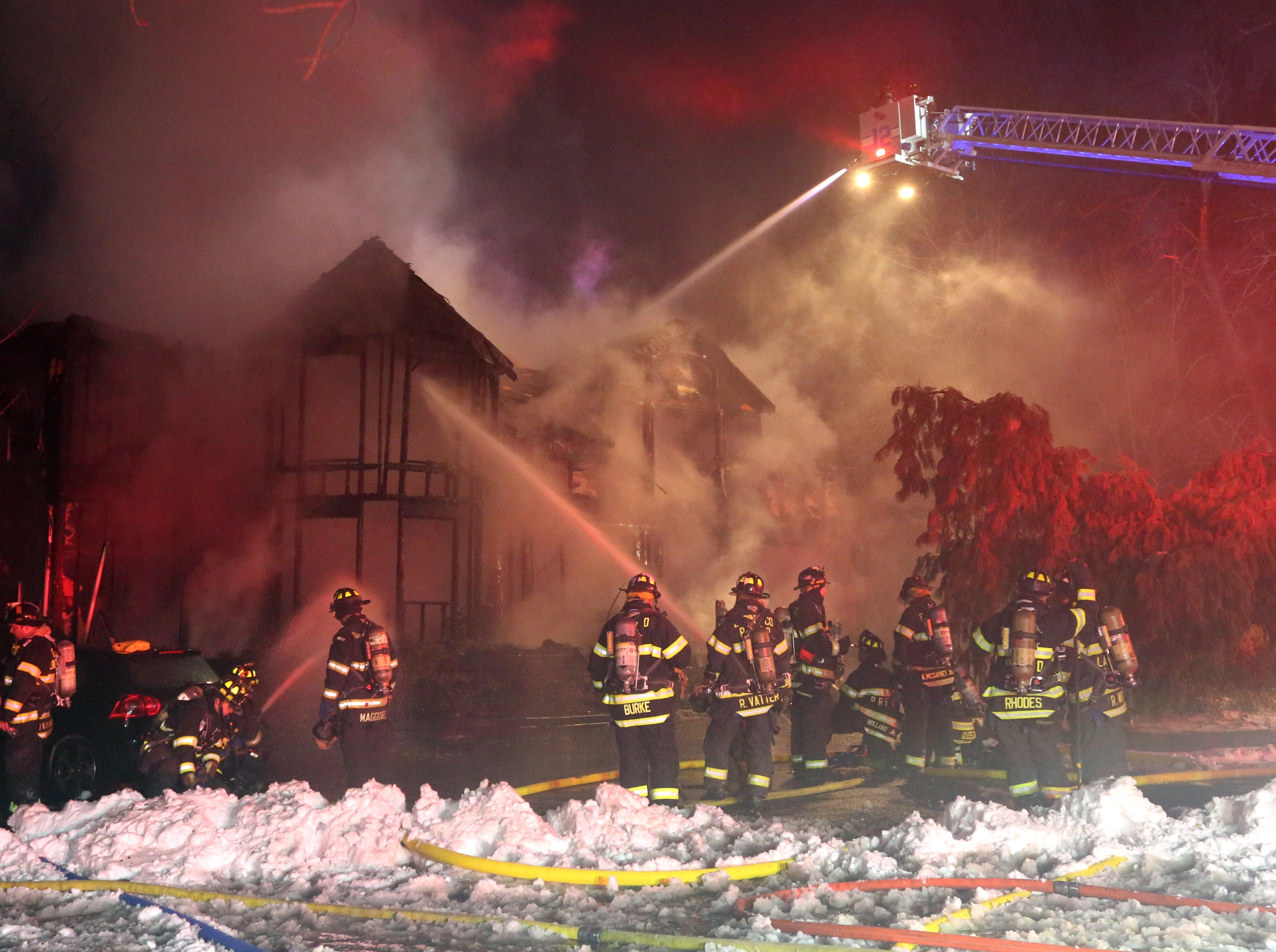 A large house was destroyed by fire on Orangeburg Rd. in Pearl River Jan. 8, 2018.
