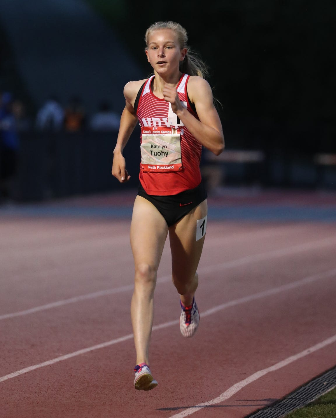 North Rockland's Katelyn Tuohy won the 3,200-meter run during the second day of the Loucks Games track and field invitational at White Plains High School May 9, 2018.