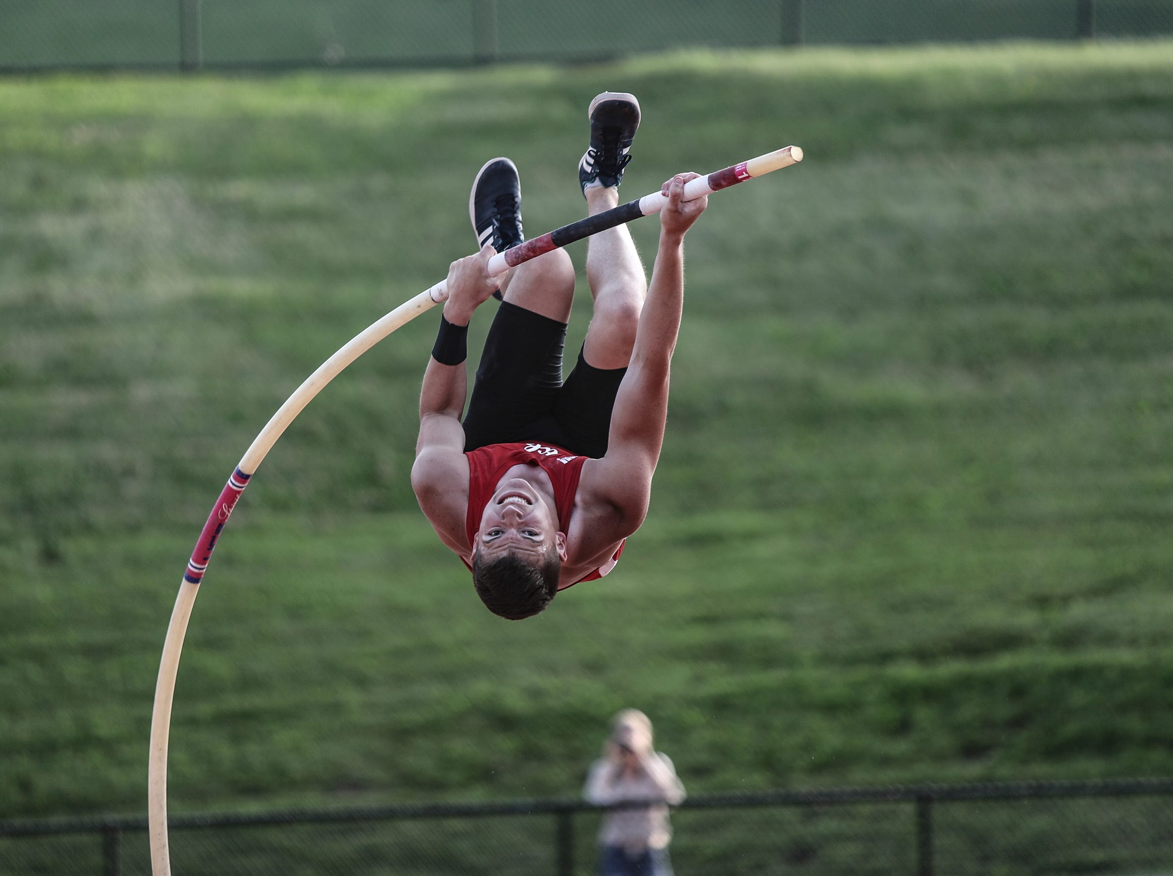 RC Ketcham's Jacob Baker attempts 14' in the pole-vault during the Section 1 state qualifier track & field meet at White Plains High School in White Plains on Friday, June 1, 2018.