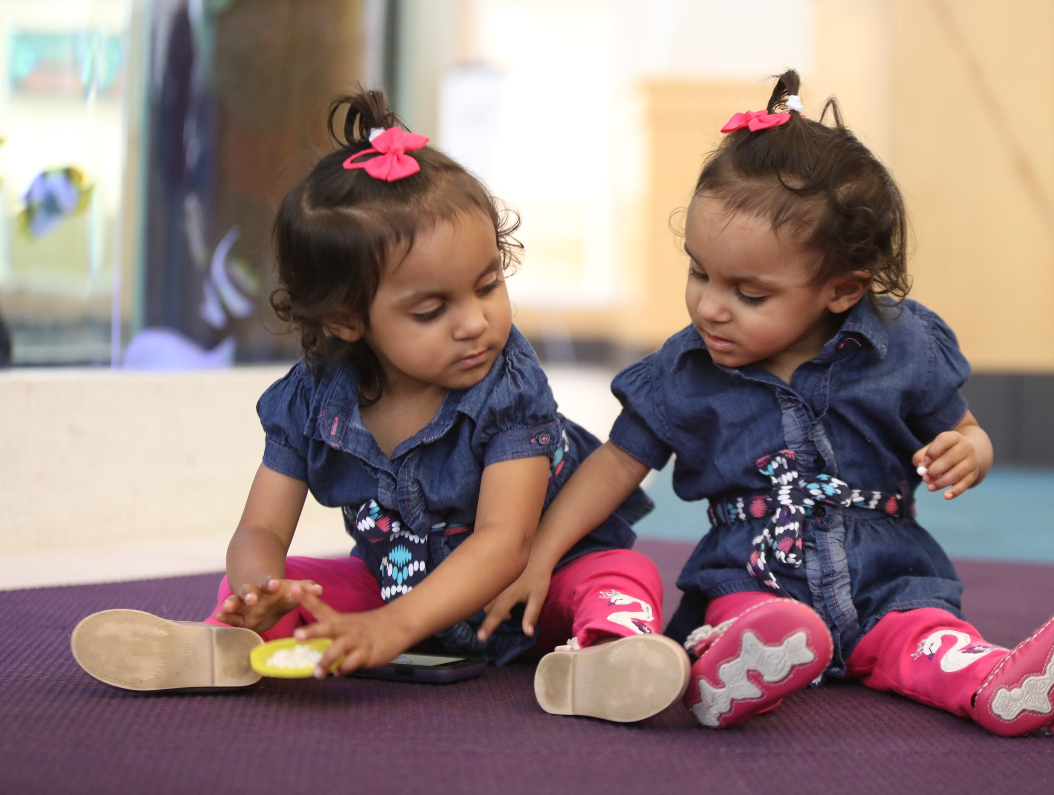 Former conjoined twins, Bellanie and Ballenie Camacho, celebrate a milestone during a news conference at Maria Fareri Children's Hospital in Valhalla on Friday, July 13, 2018.