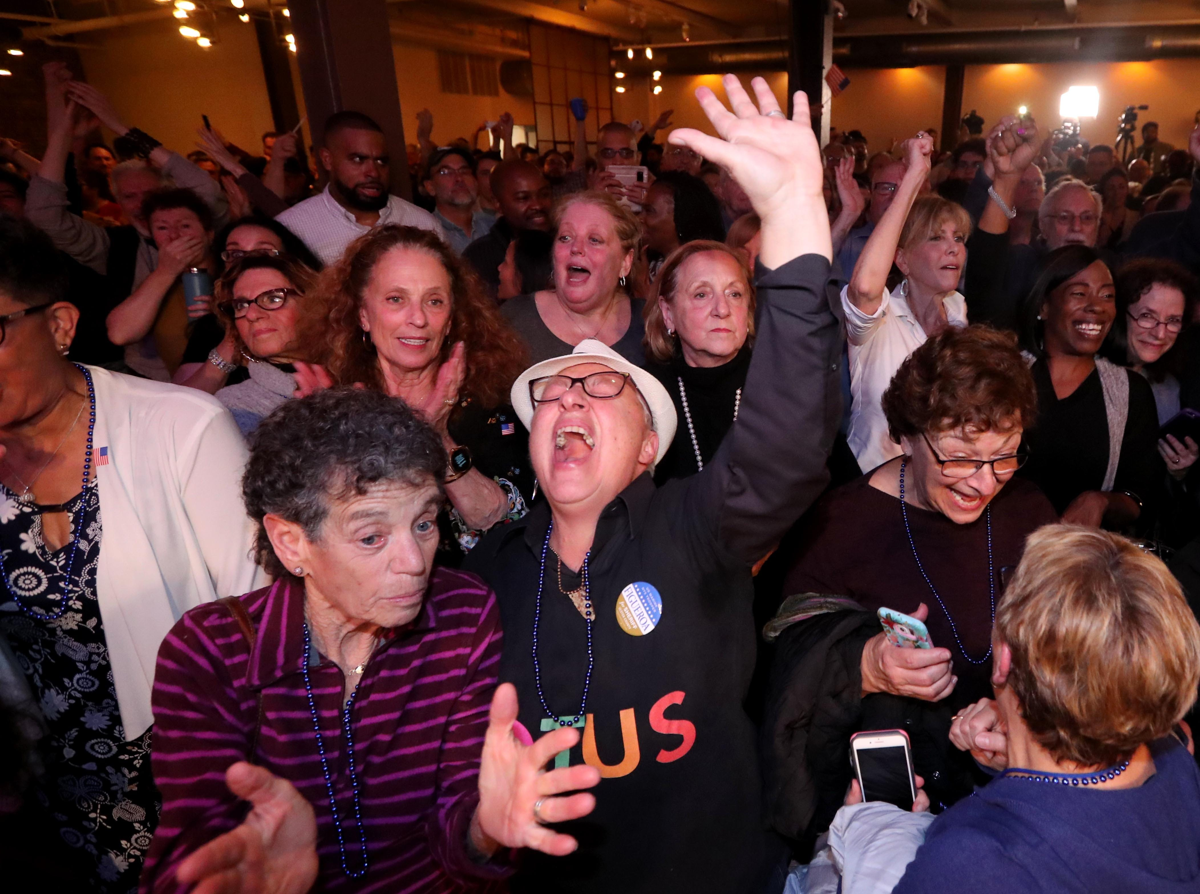 Retts Scauzillo of Woodstock, N.Y. center, and other supporters of congressional candidate Antonio Delgado, cheer upon hearing that the Democrats had retaken the House of Representatives while awaiting election results at the Senate Garage in Kingston, N.Y. Nov. 6, 2018. Delgado was running against incumbent Republican John Faso for New York's 19th congressional district seat.