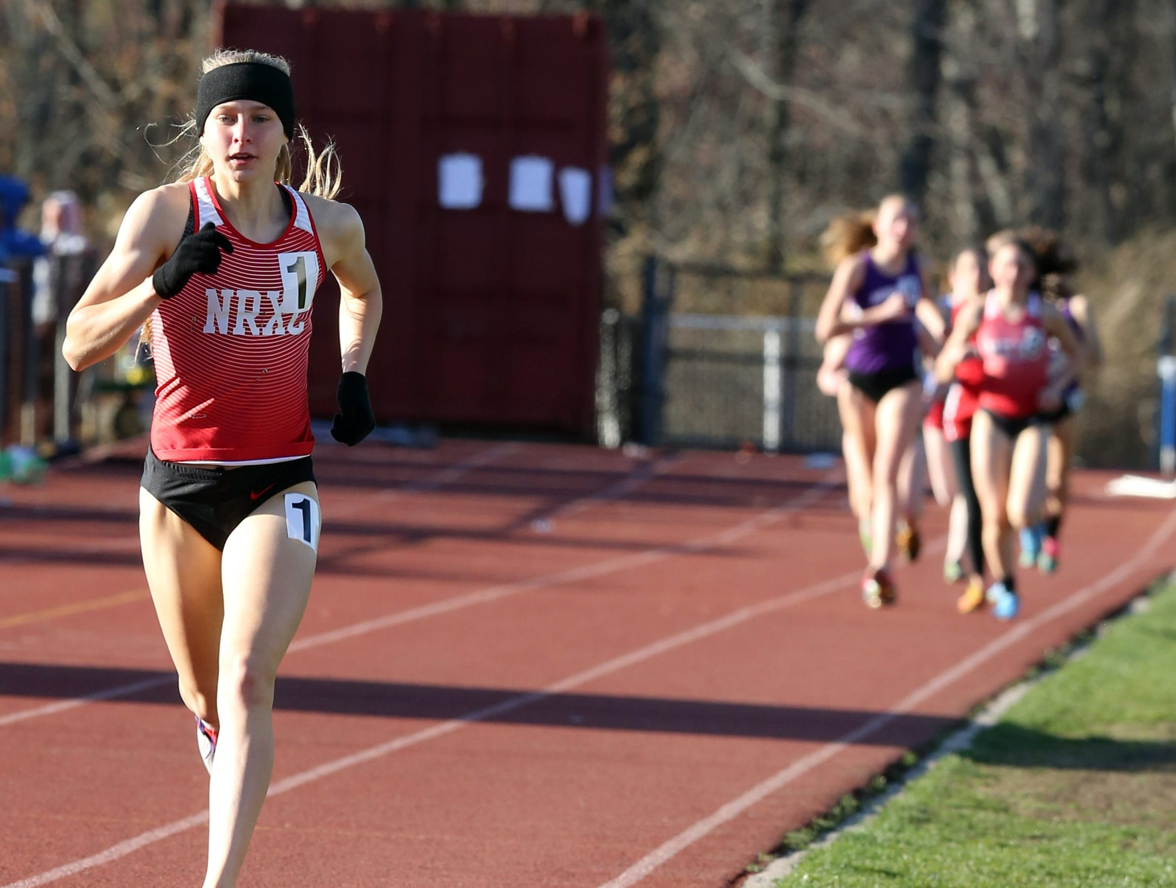 Katelyn Tuohy runs in the 3200 meter race on the first day of the two-day Red Raider Relays at North Rockland High School on April 20, 2018.