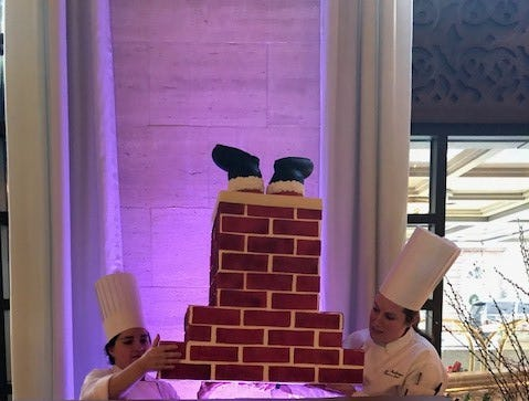 The pastry team made the fireplace from fondant.