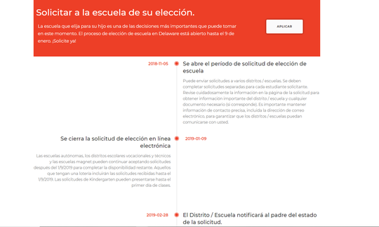 "MiEscuelaDE, or ""My School DE,"" has a variety of resources for Spanish-language families, including school choice timelines."