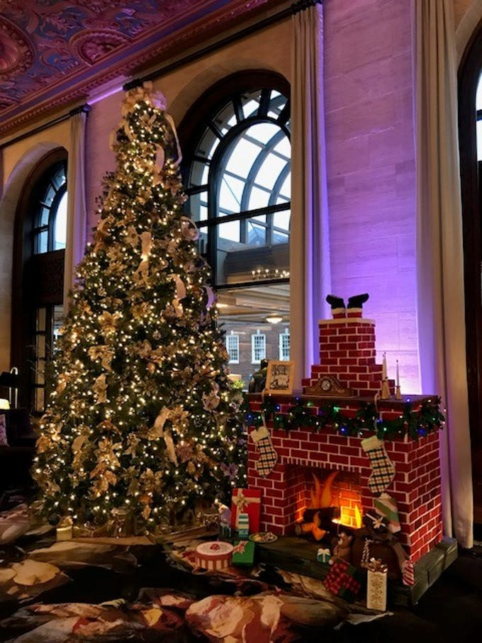 A new edible holiday display in the lobby of the Hotel du Pont was created by the pastry team.