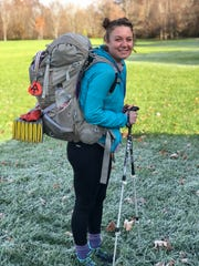 Jade Schultheis of Nashport hiked nearly 2,200 miles of the Appalachian Trail with this backpack. Its size garnered her the trail name of Elly from other hikers. Giving and getting nicknames is a common practice for trail hikers.