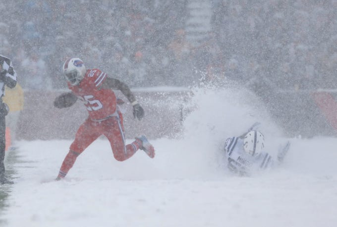 Dec. 10, 2017: Buffalo Payments working abet LeSean McCoy runs previous Indianapolis Colts out of doorways linebacker Barkevious Mingo in a snow storm at Fresh Era Enviornment. The Payments won in beyond regular time, Thirteen-7.