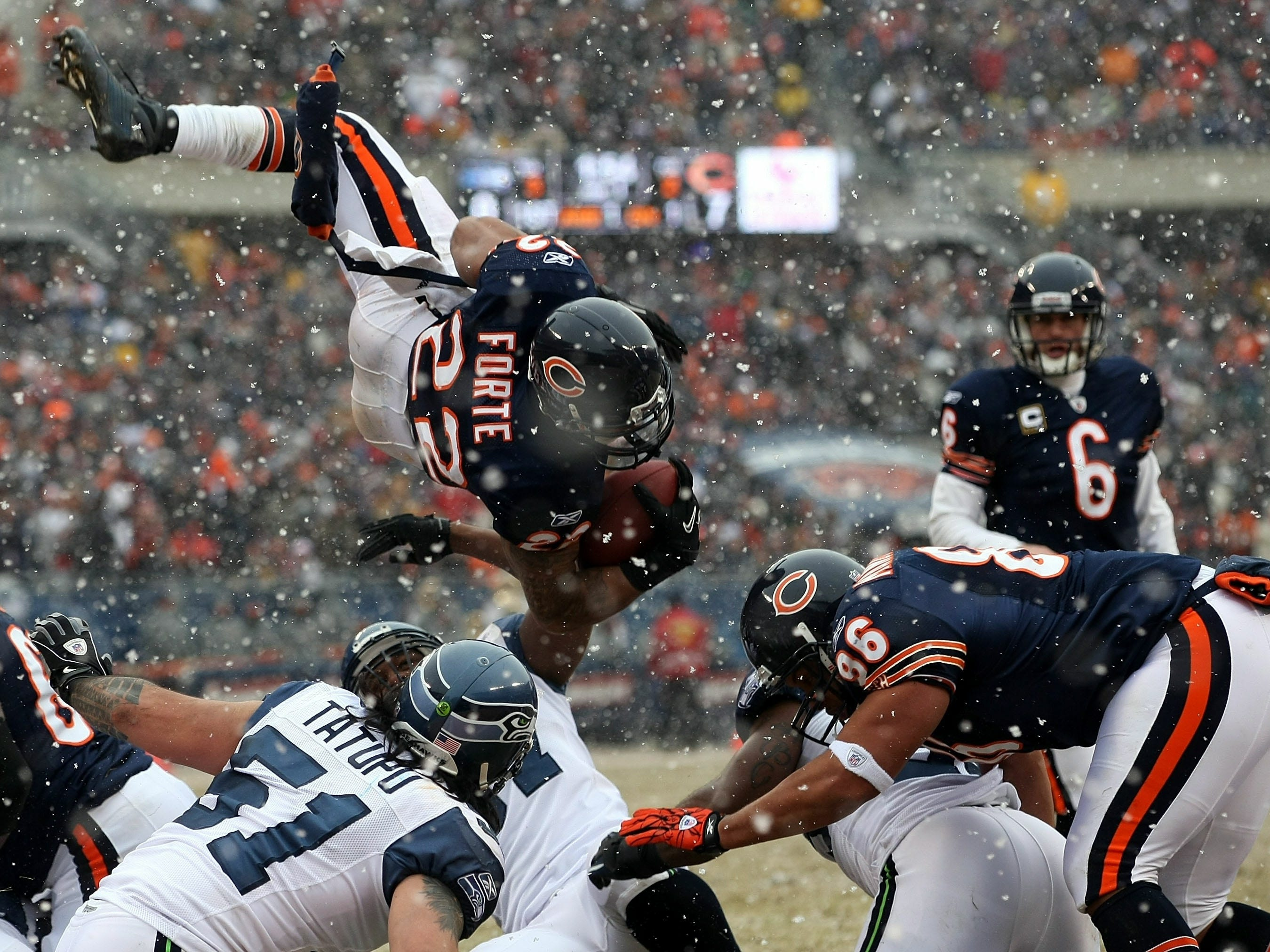 Jan. 16, 2011: Chicago Bears running back Matt Forte attempts to jump into the end zone but is stopped short by the Seattle Seahawks during a 2010 NFC divisional playoff game at Soldier Field. The Bears won the game, 35-24.