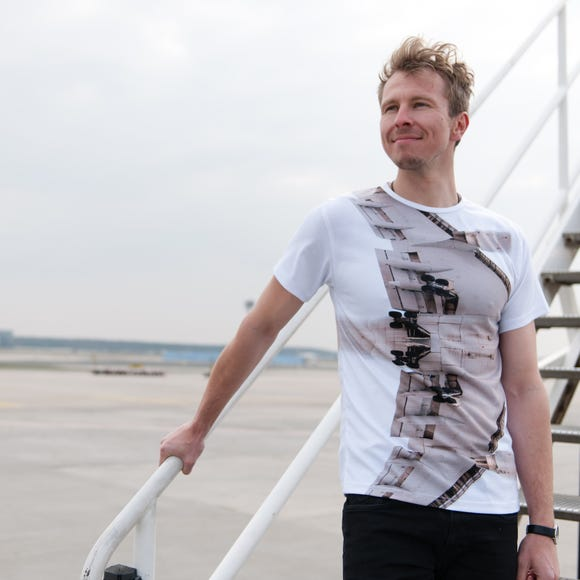 "The ""AMS T-shirt"" is for sale as part of photographer Laird Kay's ""Very Plane Clothes"" aviation-themed line."