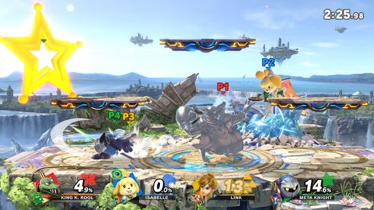 "A ""Smash"" mode battle in ""Super Smash Bros. Ultimate."""